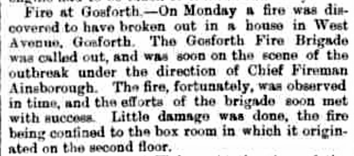 Newspaper cutting of 1901 fire reprt in Gosforth