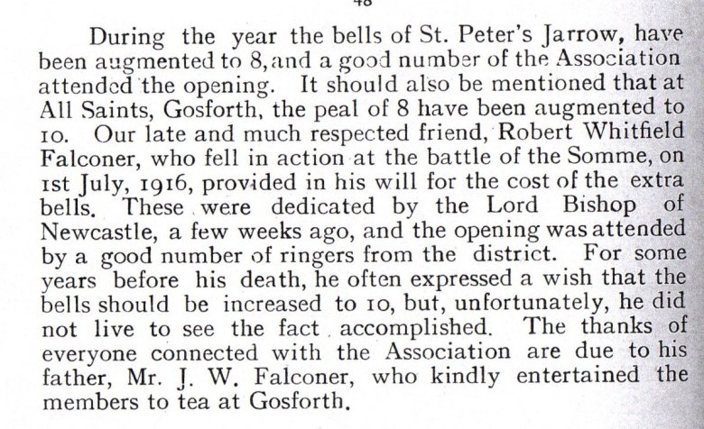 Extract from the Annual Report of Durham and Newcastle Association of Change Ringers, 1920,