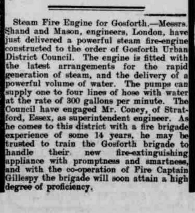 Newspaper cutting of artcile Steam Fire Engine