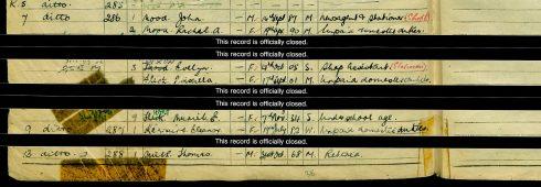 Extract from 1939 registar