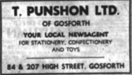 T Punshon Newsagent advert
