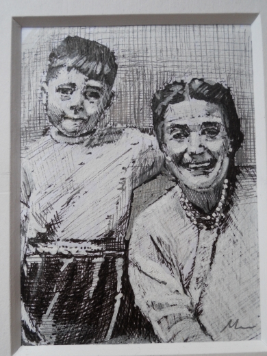 Drawing of Jack Harland with his Grandma when he stayed in Coxlodge. By Mairi Harland