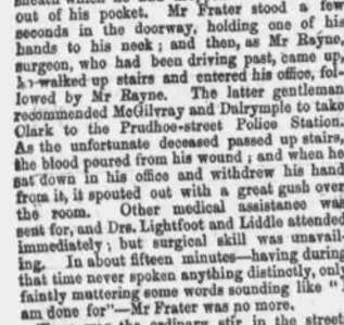 1861 newspaper snip Mark Frater murder Gosforth