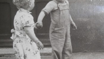 Photo f Jack Hartland as a young boy on Ash Street in Gosforth