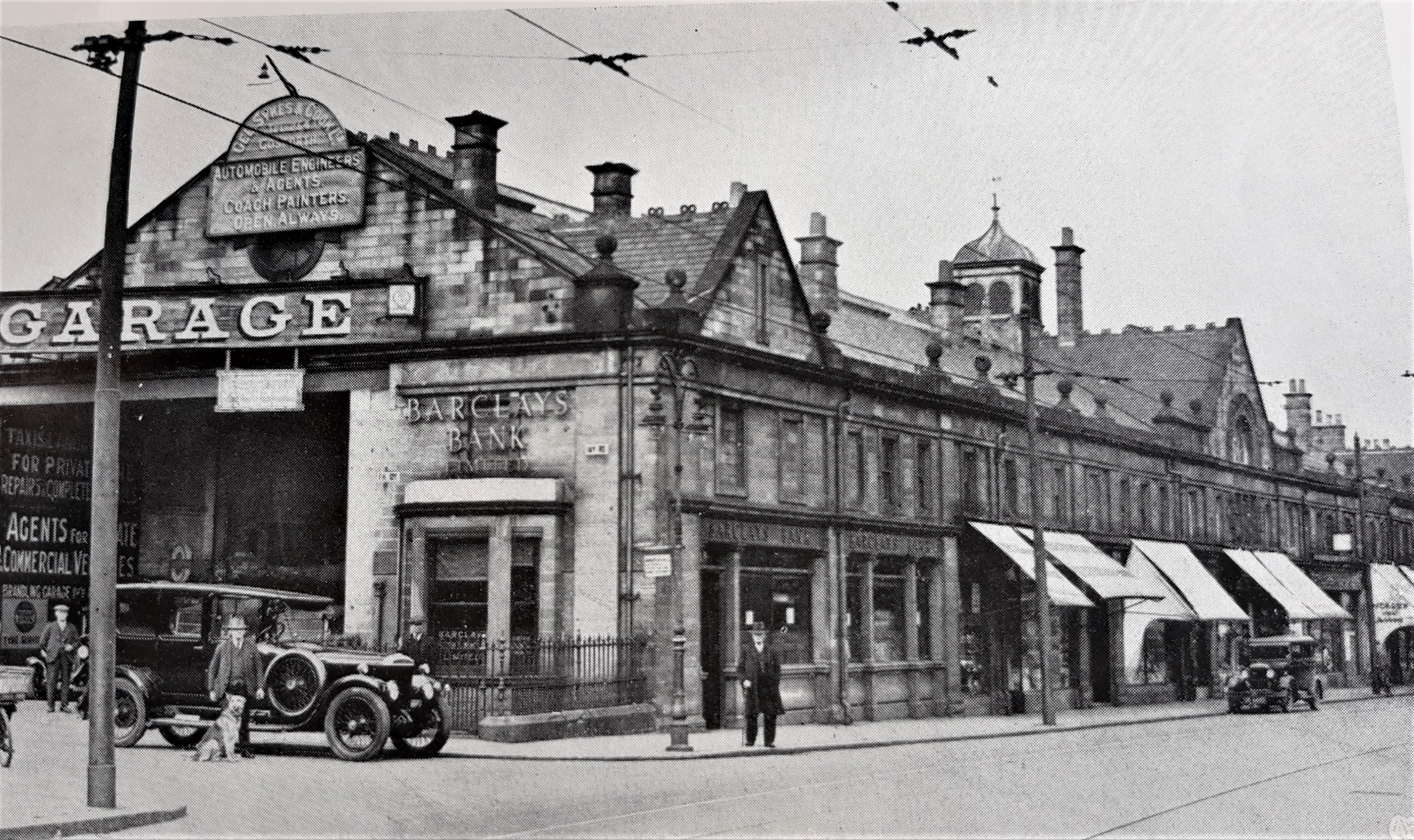 Old Gosforth photograph of Gee Sykes & Cook ltd. Trading from the tramway stables building on Gosforth High Street.
