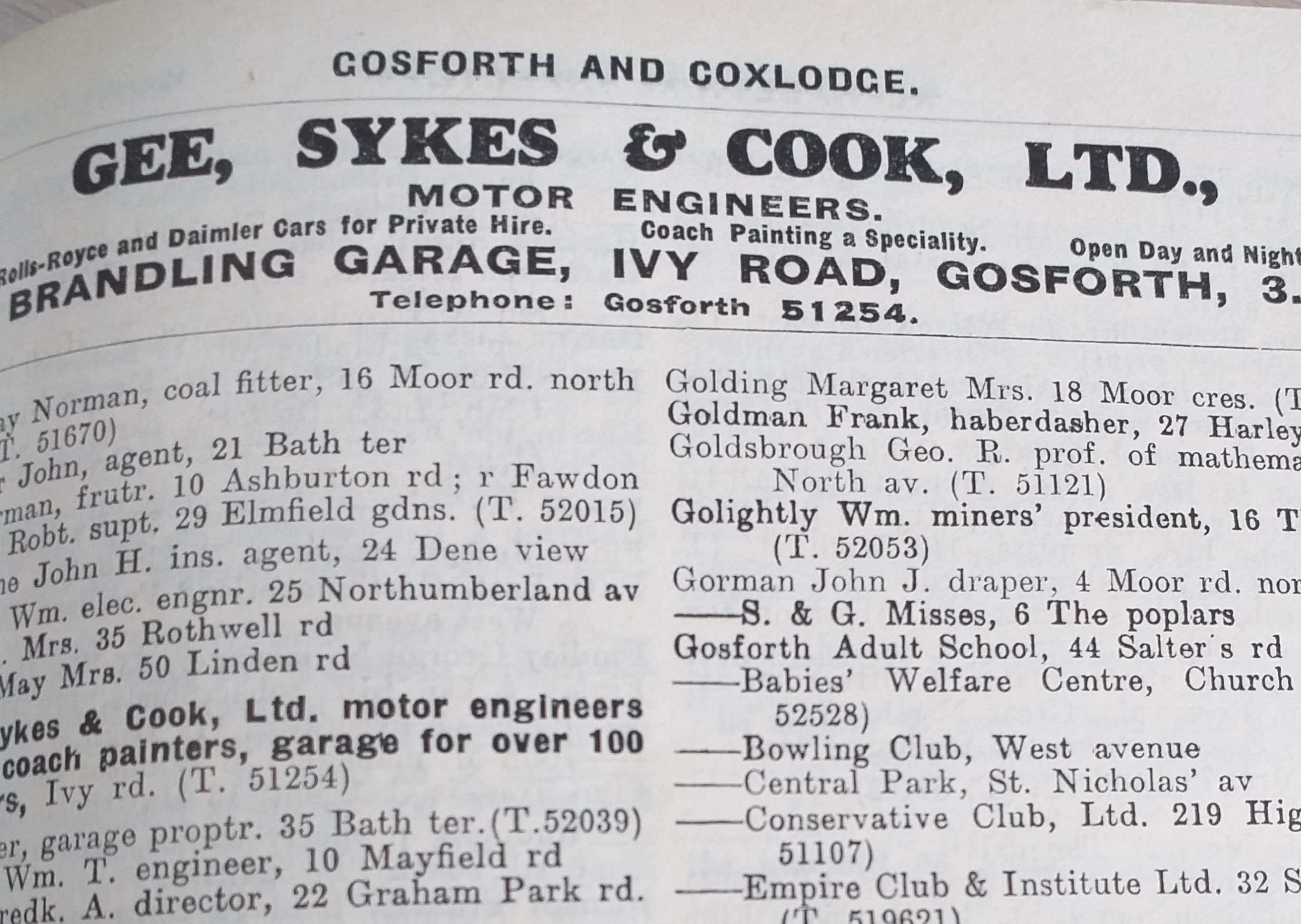 Advert for Gee Sykes & Cook Garage taken from a Gosforth and Coxlodge trade directory.