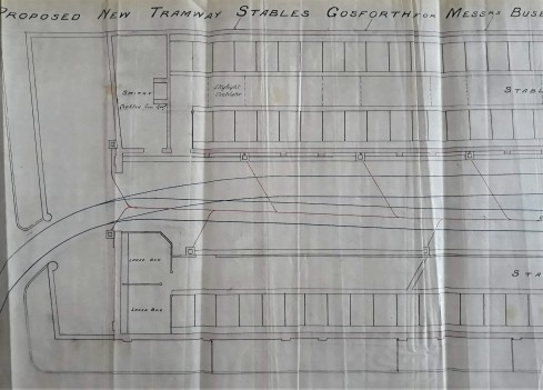 Plans for Gosforth tramway stables showing Smithy, loose boxes, and car shed.