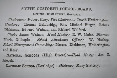 Text of South Gosforth School Board memebers 1879.