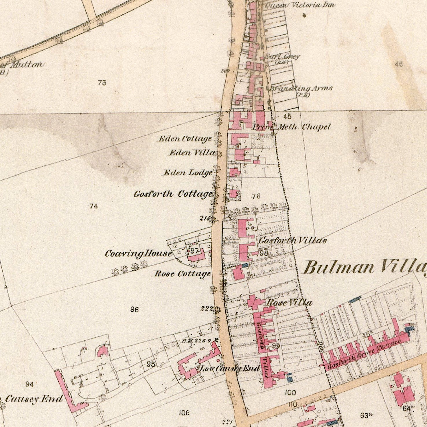 Historical Aspects of Gosforth map portion Bulman Village 1860