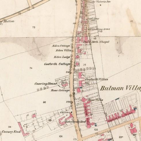 Historical Aspects of Gosforth map portion Bulman Village 1860