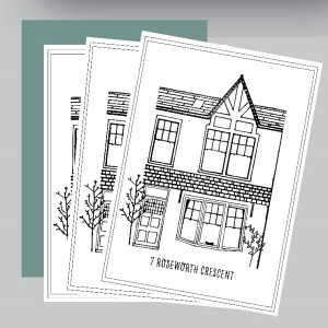 Example of a pack of greetings cards with Discovering Heritage bespoke house portrait design.