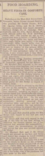 Newcastle Daily Journal Food Hoarding 1918 Coxlodge Hall Gosforth
