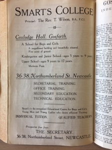 book showing advert for Smarts College in Coxlodge Hall Gosforth