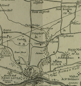 Discovering Heritage 1807 map of Gosforth showing Three Mile Bridge as Ouse Bridge