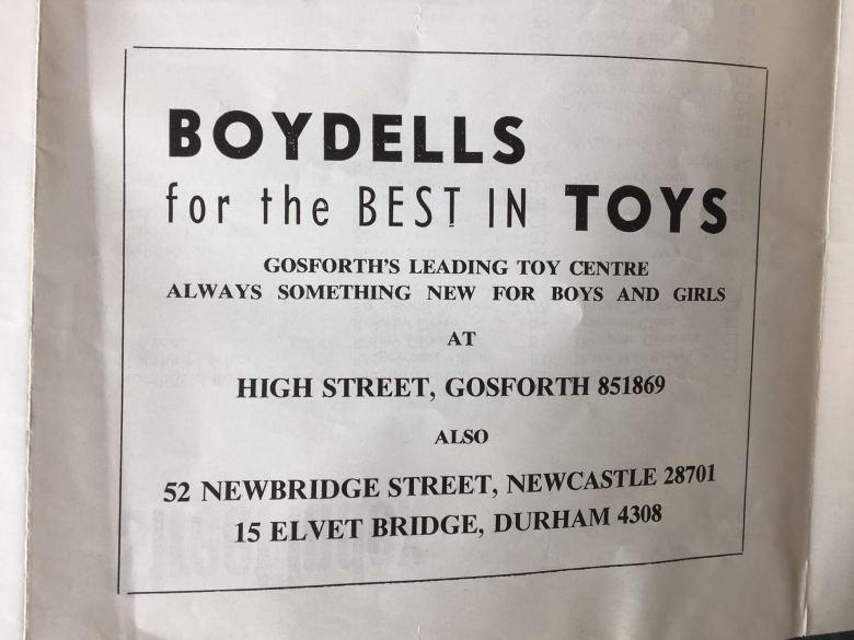 Advert for Boydells shop on Gosforth High Street